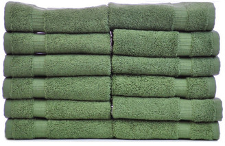 Bare Cotton Dobby Border Luxury Hotel and Spa Wash Cloth, Set of 12, Moss