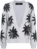 Filles a papa sequin palm tree v-neck sweater