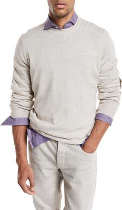 Brunello Cucinelli Fine-Gauge Knit Elbow-Patch Sweater