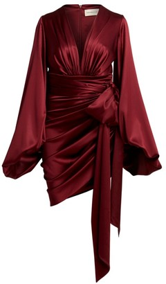 Alexandre Vauthier Stretch Satin Bell-Sleeve Tie-Waist Dress