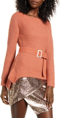 J.o.a. Shaker Stitch Belted Sweater