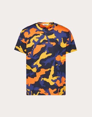 Valentino Camouflage T-shirt Man Navy Camo/orange Cotton 100% L