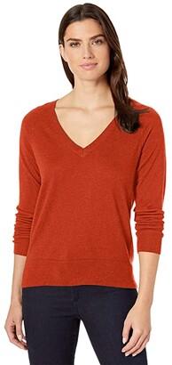 Pendleton Merino V-Neck Pullover (Baked Clay Heather) Women's Sweater