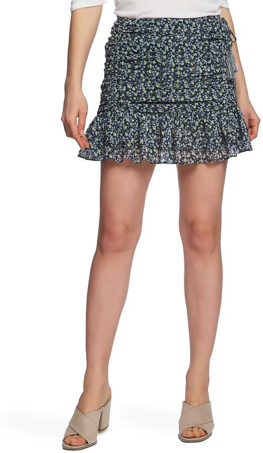 1.STATE Cascading Calico Ruched Miniskirt