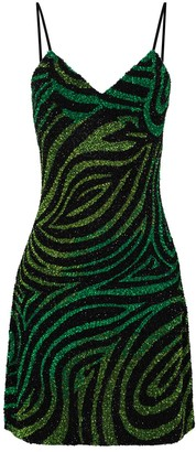 Ashish Zebra-Stripe Sequin-Embellished Mini Dress