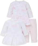 Little Me Girls' Garden Three Piece Dress & Leggings Set - Baby