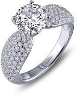 Lafonn Platinum Plated Sterling Silver Micro Pave SImulated Diamond Engagement Ring