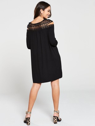 Very Lace Panel Mini Dress - Black
