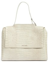 Orciani Croc Embossed Leather Convertible Satchel - Ivory