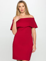 ELOQUII Plus Size Off the Shoulder Dress with Overlay