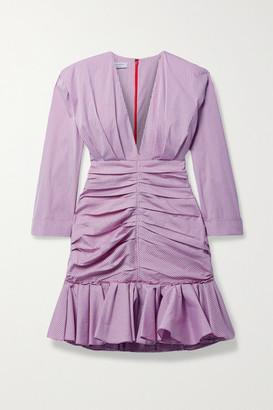 Philosophy di Lorenzo Serafini Ruched Gingham Cotton-blend Poplin Mini Dress - Lilac