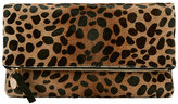 Clare Vivier Leopard Haircalf Fold Over Clutch