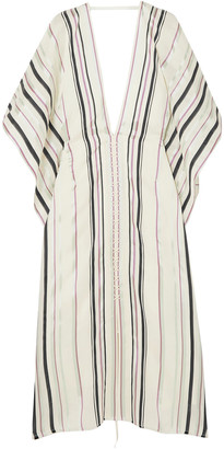 Roland Mouret Adamson Lace-up Crepe-paneled Striped Canvas Midi Dress