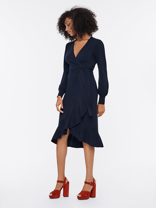 Diane von Furstenberg Kennedy Wool-Cashmere Midi Wrap Dress