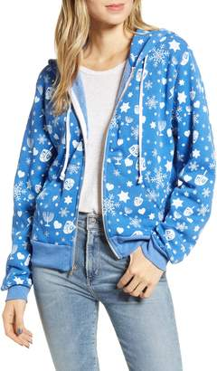 Wildfox Couture Hanukkah Wishes Everyday Zip Front Cotton Blend Hooded Sweatshirt