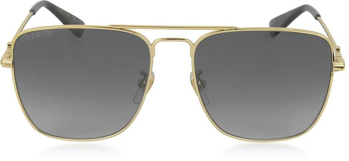 Gucci GG0108S 006 Gold Metal Square Aviator Men's Polarized Sunglasses