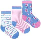 Jo-Jo JoJo Maman Bebe 3 Pack Flower Socks (Baby) - Cornflower-0-6 Months