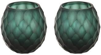 "Aspen Creative Corporation Aspen Creative Dark Teal Glass Votive Candle Holder 4"" Diameter x 4"" Height, 2 Pack"