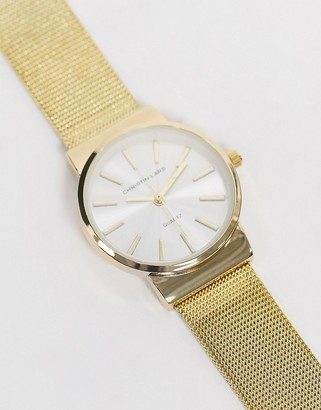 Christin Lars slim watch in gold with white dial