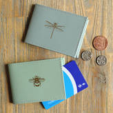 Undercover Recycled Leather Bee And Dragonfly Travel Card Holder