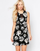 Daisy Street Shift Dress With Mesh Insert In Flower Print