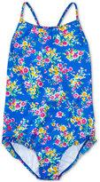 Ralph Lauren Floral-Print Cross-Back Swimsuit, Big Girls (7-16)