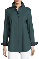 Lafayette 148 New York Long-Sleeve Button-Front Cherrywood Striped Shirt, Plus Size