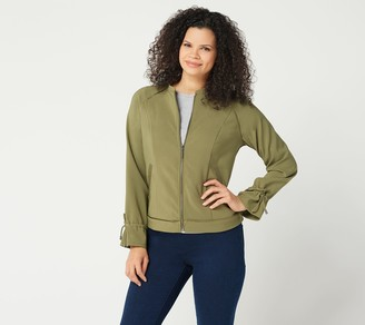 Halston H by Zip-Front Bomber Jacket with Drawstring Sleeves
