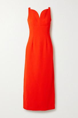 Emilia Wickstead Mathilda Cloque Midi Dress - Tomato red