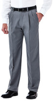 Haggar Cool 18 Stretch Heather Pant - Classic Fit, Pleat Front, Hidden Expandable Waistband