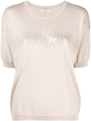 Peserico sequin-embellished knitted T-shirt