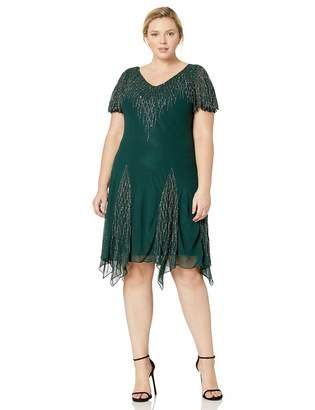 J Kara Women's Plus Size Short Beaded Dress