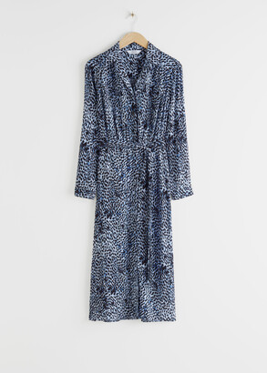 And other stories Belted Animal Print Midi Dress