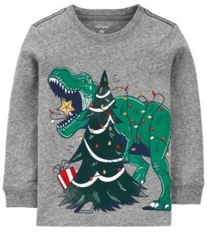 Carter's Toddler Boy Christmas Dinosaur Snow Yarn Jersey Tee