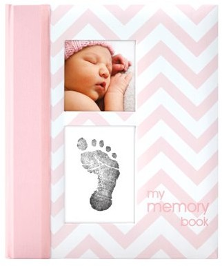 Pearhead Chevron Baby Book and Clean Touch Ink Pad, Pink