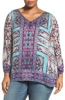 Lucky Brand Plus Size Women's Moroccan Border Print V-Neck Blouse