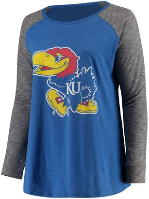 Unbranded Women's Royal/Charcoal Kansas Jayhawks Plus Size Preppy Elbow Patch Slub Long Sleeve T-Shirt