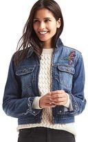 Gap 1969 Short Zip Embroidered Denim Jacket