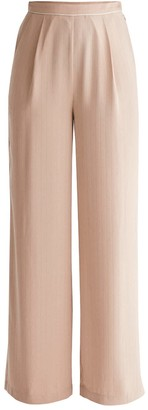 Paisie Palazzo Trousers With Subtle Stripes & Waist Piping In Blush