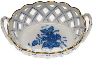 Herend Chinese Bouquet Blue Small Openwork Basket with Handles