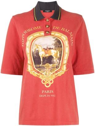 Balmain Equestrian Print Polo Shirt