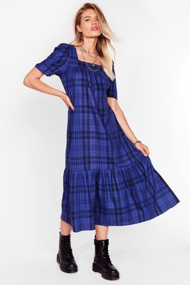 Nasty Gal Womens Check Your Facts Relaxed Midi Dress - Cobalt