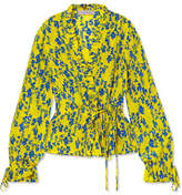 Preen Line Taia Ruffled Floral-print Crepe De Chine Wrap Blouse - Yellow