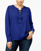 INC International Concepts I.n.c. Plus Size Lace-Up Blouse, Created for Macy's