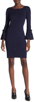 Nina Leonard Ribbed Knit Bell Sleeve Sweater Dress