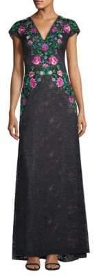 Tadashi Shoji Women's Floral Embroidered Gown - Black Dahlia - Size 8