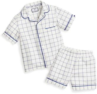 Petite Plume Classic Tattersall Pajama Set w/ Contrast Piping, Size 6M-14
