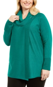 JM Collection Plus Size Lace-Up Cowlneck Sweater, Created for Macy's