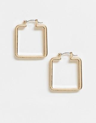 ASOS DESIGN hoop earrings in sleek square in gold tone