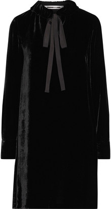 McQ Tie-neck Velvet Mini Dress